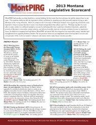 2013 Montana Legislative Scorecard