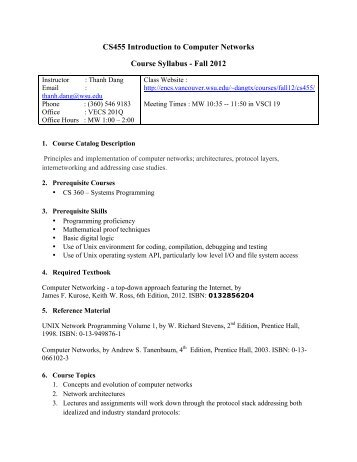 CS455 Introduction to Computer Networks Course Syllabus - Fall 2012