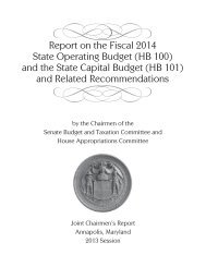 Report on the Fiscal 2014 State Operating Budget - Maryland ...