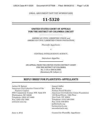 reply brief - American Civil Liberties Union