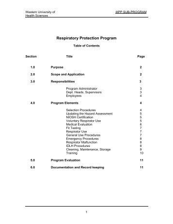 Respiratory Protection Program - Western University of Health ...