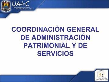 coordinación general de administración patrimonial y de servicios