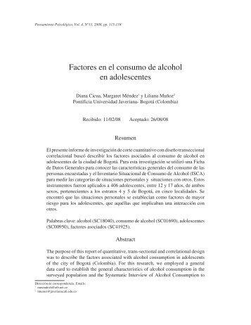 Factores en el consumo de alcohol en adolescentes - Revistas de la ...
