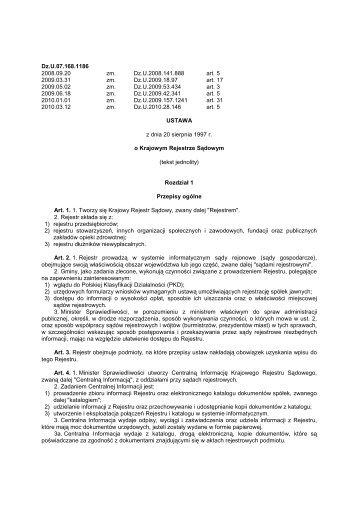 ustawa z dnia 20 sierpnia 1997 r. o Krajowym Rejestrze Sądowym