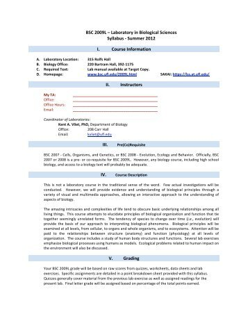 BSC 2009L – Laboratory in Biological Sciences Syllabus ‐ Summer ...