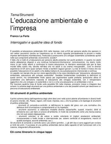 L'educazione ambientale e l'impresa - Il Portale Italiano dell ...