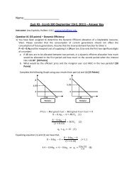 Quiz #3 - EconS 330 (September 23rd, 2011) – Answer Key