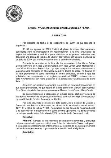 ANUNCIO LISTA DEFINITIVA CHOFER - Ayuntamiento de Castellón