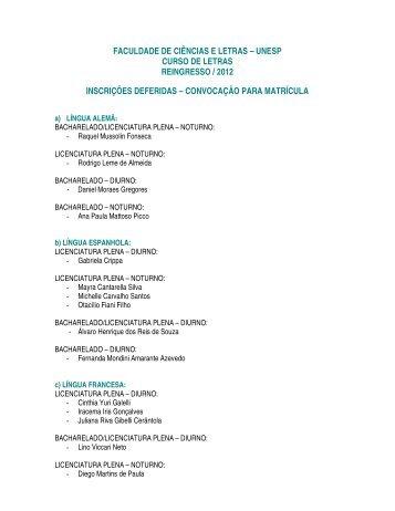 unesp curso de letras reingresso / 2012 inscrições deferidas