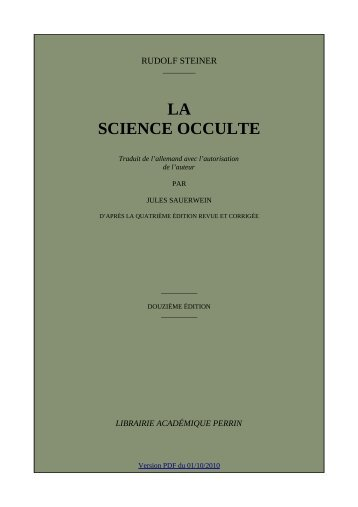 LA SCIENCE OCCULTE - Archives anthroposophiques