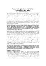 Freedom of expression in the Maldives - Internet and print media