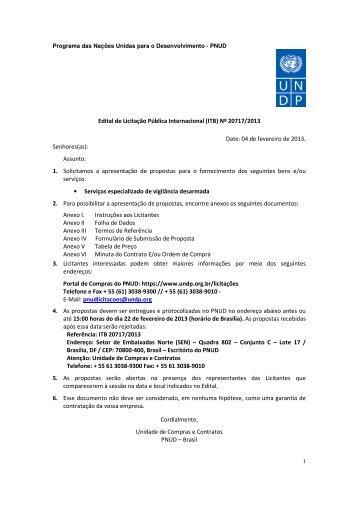 Edital de Licitação Pública Internacional (ITB) Nº 20717/2013 ... - Pnud