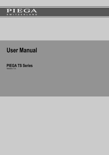 User Manual - Piega SA