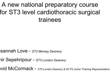 A new national preparatory course for ST3 level cardiothoracic ...