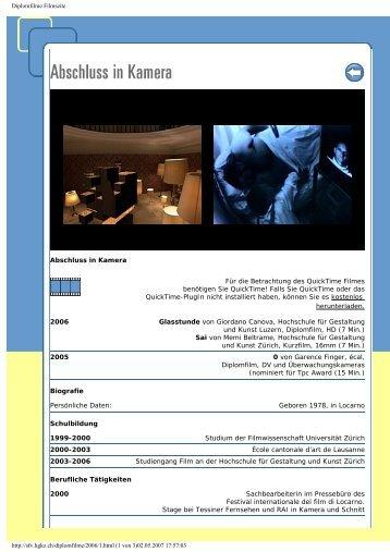Diplomfilme Filmseite