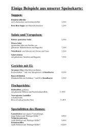 Einige Beispiele aus unserer Speisekarte: - Gasthof