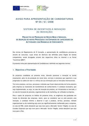 Aviso para Apresentação de Candidaturas n.º 05/SI/2008 - Qren