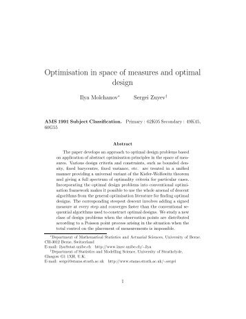 Optimisation in space of measures and optimal design
