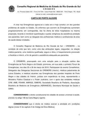 Clique aqui para ler a íntegra da Carta de Porto Alegre - Cremers