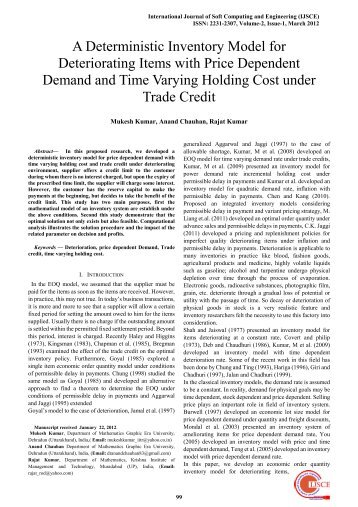 A Deterministic Inventory Model for Deteriorating Items with Price ...
