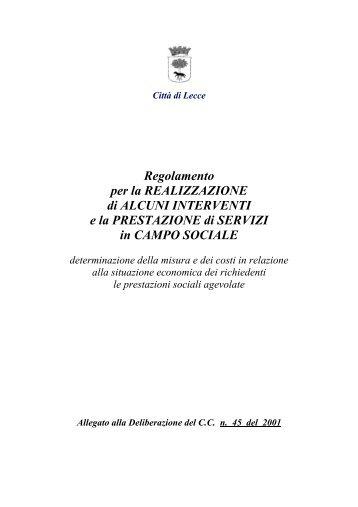 Reg. prestazioni di servizi sociali - Comune di Lecce