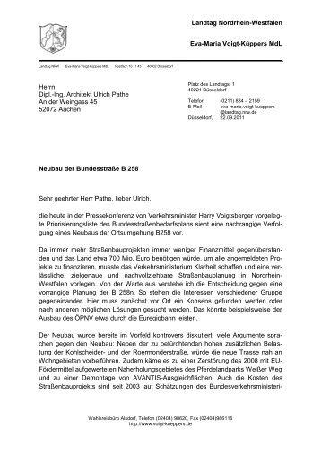 Schreiben der Landtagsabgeordneten Eva-Maria Voigt ... - B258nein