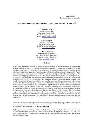 MACROECONOMIC ADJUSTMENT TO STRUCTURAL ... - Sense/Net