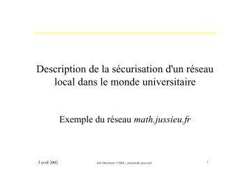 Description de la sécurisation d'un réseau local dans le ... - OSSIR