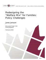 """Redesigning the """"Welfare Mix"""" for Families: Policy Challenges"""