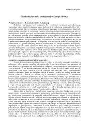Marketing żywności ekologicznej w Europie i Polsce - Mariusz ...