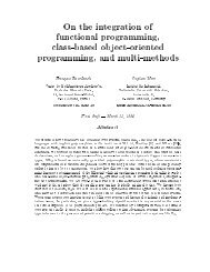 On the integration of functional programming, class ... - CiteSeerX