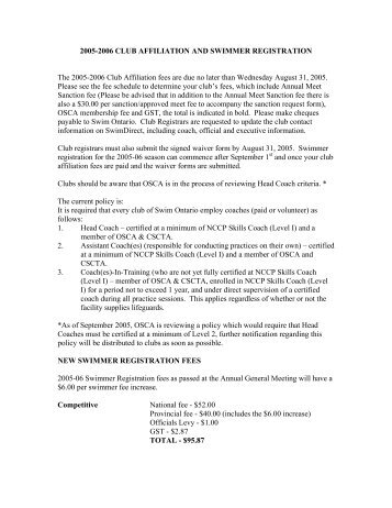 2005-2006 CLUB AFFILIATION AND SWIMMER ... - Swim Ontario