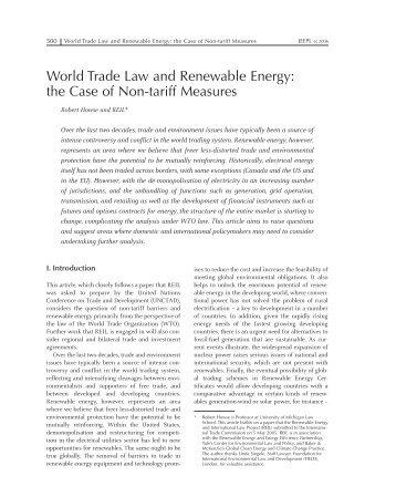 REIL report Howse aus JEEPL 6-2006 - Yale University