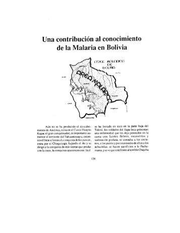 Una contribución al conocimiento de la Malaria en Bolivia