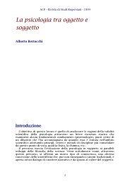 La psicologia tra oggetto e soggetto - ACP