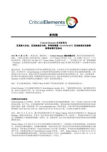 下载PDF 版本 - Critical Elements Corporation