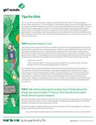 Real to me: Girls and Reality TV/Tips for Girls - Girl Scouts of the USA