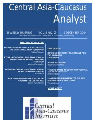 analytical articles - The Central Asia-Caucasus Analyst