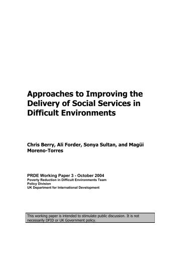 Approaches to Improving the Delivery of Social Services in Difficult ...