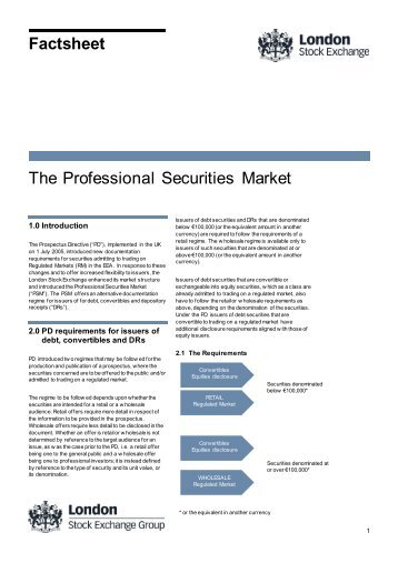 The Professional Securities Market - London Stock Exchange