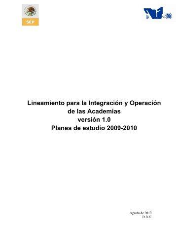 Lineamiento para la Integración y Operación de las Academias - ITCJ
