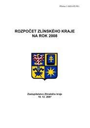Rozpočet ZK 2008 - Zlínský kraj