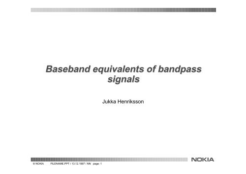 Band-pass and equivalent low-pass signal modeling