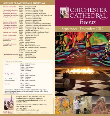 September - December 2012 Events Leaflet - Chichester Cathedral