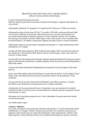 protocollo di cartagena sulla biosicurezza - Cooperazione Italiana ...