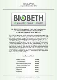 NEWSLETTER Ausgabe Dezember 2010 - Biobeth