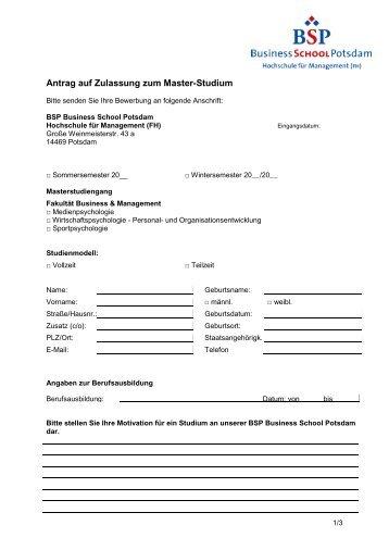 Antrag auf Zulassung zum Bachelor-Studium - BSP Business School ...