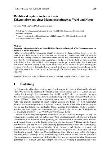 Raubtierakzeptanz in der Schweiz: Erkenntnisse aus einer ... - ISSW