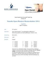 Danske Open Masters Mesterskaber 2011 - Dansk Svømmeunion