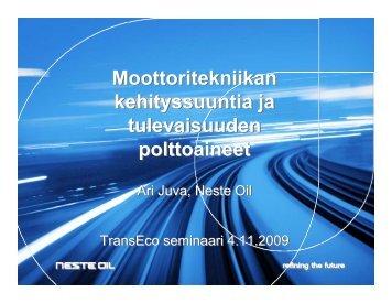 Moottoritekniikan kehityssuuntia ja tulevaisuuden ... - TransEco